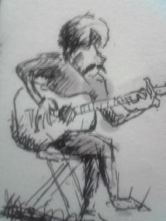 演奏中にお客さんにいた画家さんが私の絵を描きました!